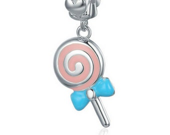 b13994dea Sweet Lollipop candy Sweetie Pendant Charm Beads 100% 925 Sterling Silver  fit Authentic Pandora Charms and European Bracelets, Free Shipping
