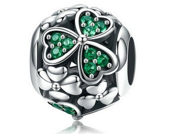 34b0cb7ff 100% 925 Sterling Silver Shamrock Flower Green Crystal Beads Charm fit  Pandora Charm Bracelet Necklace Jewelry Making, Free Shipping.
