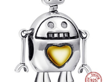 0910e3430 cute robot with gold love heart beads Charms 100% 925 Sterling Silver fit  for Authentic pandora Charms and european bracelets, Free Shipping