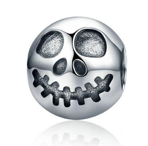 Jack Skellington Charm, 925 Sterling Silver Skull Charm Bead Fits Pandora Charms Bracelet, Skull Necklace DIY, Halloween Jewelry