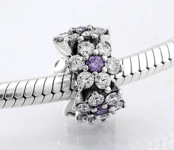 925 Sterling Silver Forget Me Not Ring Purple /& Clear CZ European Charm Fashion