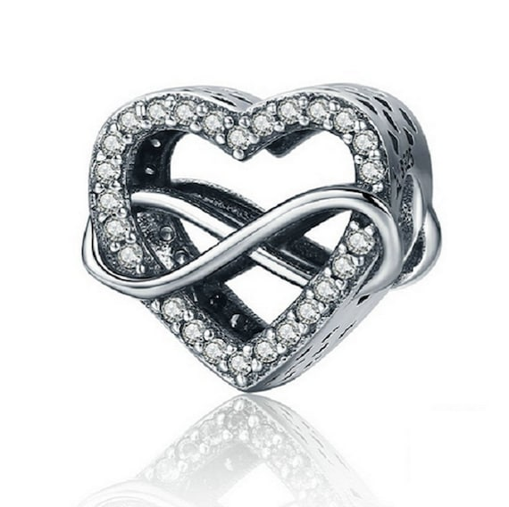 Sterling Silver Infinity Heart Charm With CZ, Love Infinity Charm Fits Pandora Charms Bracelet, Heart Infinity Necklace, Infinity Charm Gift