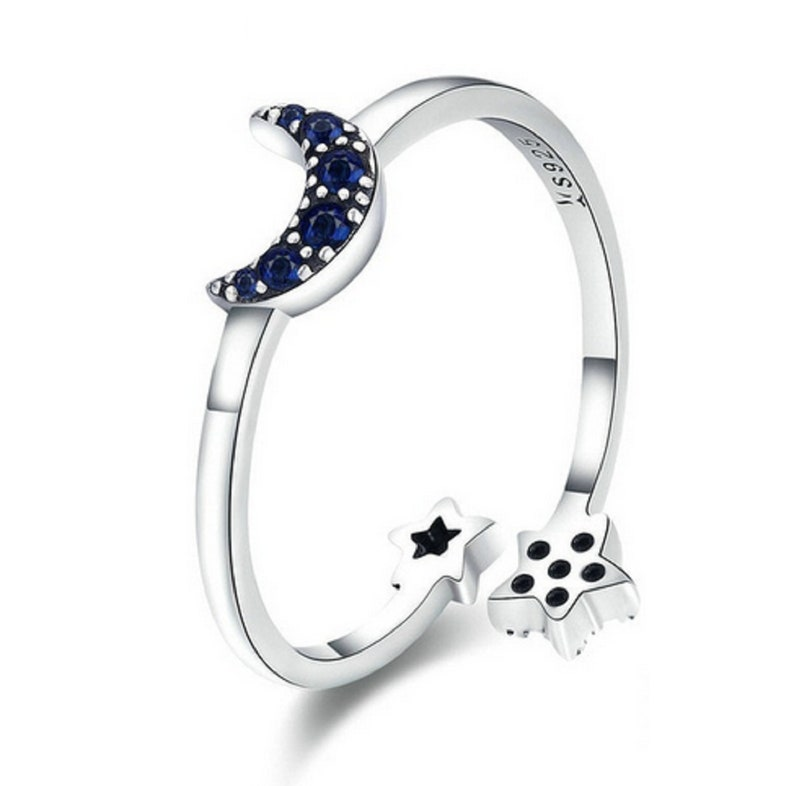 1f74ed70247f6 Sparkling Blue Moon Star Clear CZ Finger Rings for Women, 100% 925 Sterling  Silver Ring, Fits to all Pandora Jewelry Diy, Free Shipping.