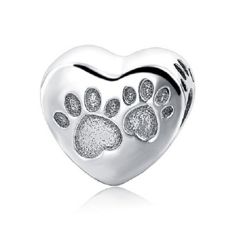 9f7b56816 Footprints Dog Love Heart Shape Beads 100% 925 Sterling Silver | Etsy