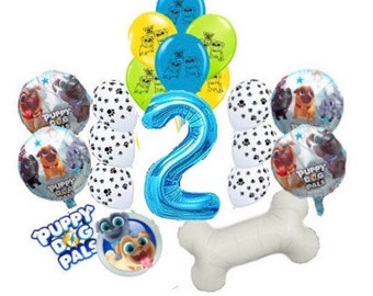 18PC PUPPY DOG PALs Birthday Balloons 2nd Party 32 Bone Favors Supply Decoration Banner Theme Paw Boy Second