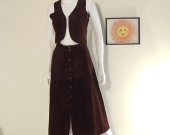 708fbec07 Vintage 70's Snap Front Brown Suede Skirt and Matching Vest