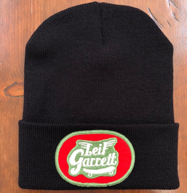 Thick Black Long Beanie Hat featuring an Up Cycled 70s Vintage Embroidered Patch Leif Garrett