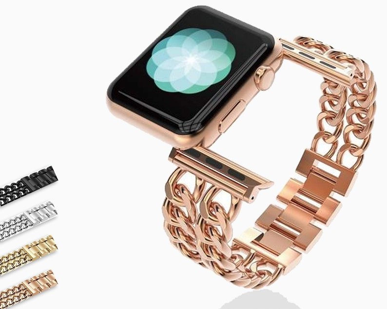 e4e6ad3f6 Apple Watch chain jewelry bracelet band, Stainless steel metal iwatch strap  for women, Fits Nike Hermes Series 1 2 3 4 44mm 40mm 42mm 38mm