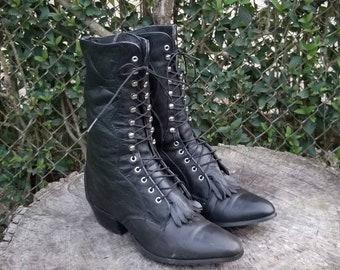 90s Black Hiking Lug Sole Patchwork Platform Treaded Hiking Grunge Bratz Style Leather Boots