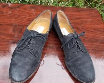 e34414060fcd2 S.z. 8M Blue Black Leather Suede Lace Up Shoes By Liz Claiborne Vintage  1990 s