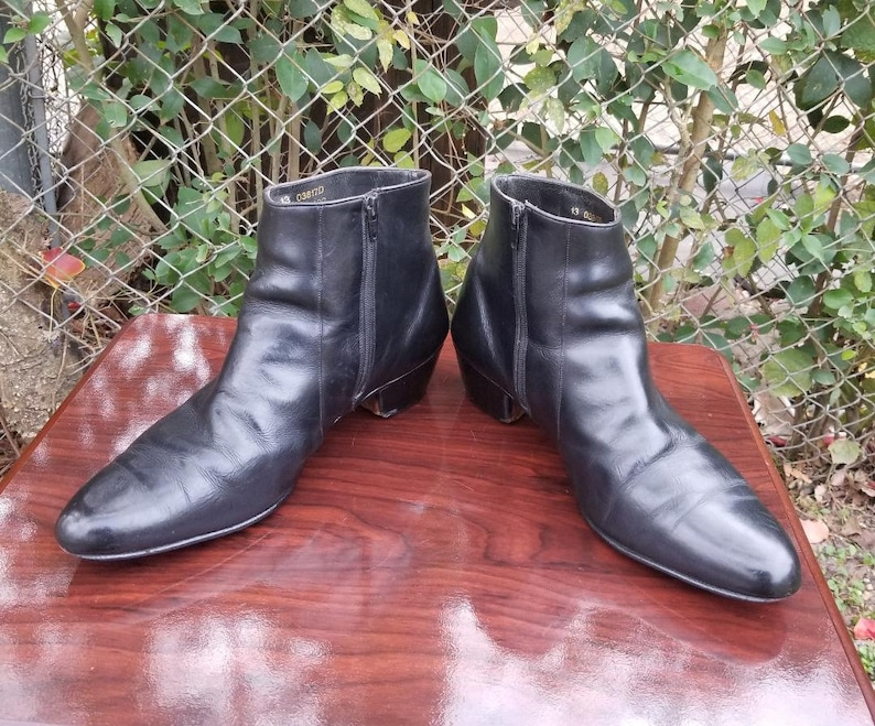 ac8f2c76ccef0 S.z. 13 Black Genuine Leather Ankle Boots/Side Zipper/Vintage 80's
