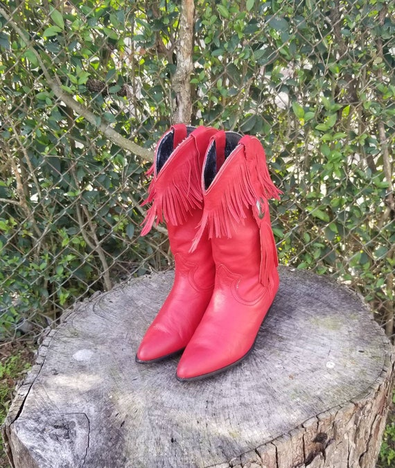 Sz 6.5 Cowboy/Cowgirl Boots/Red Leather Western St