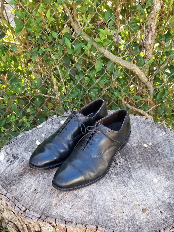Vintage Men's Black Leather Oxfords by Dexter Size