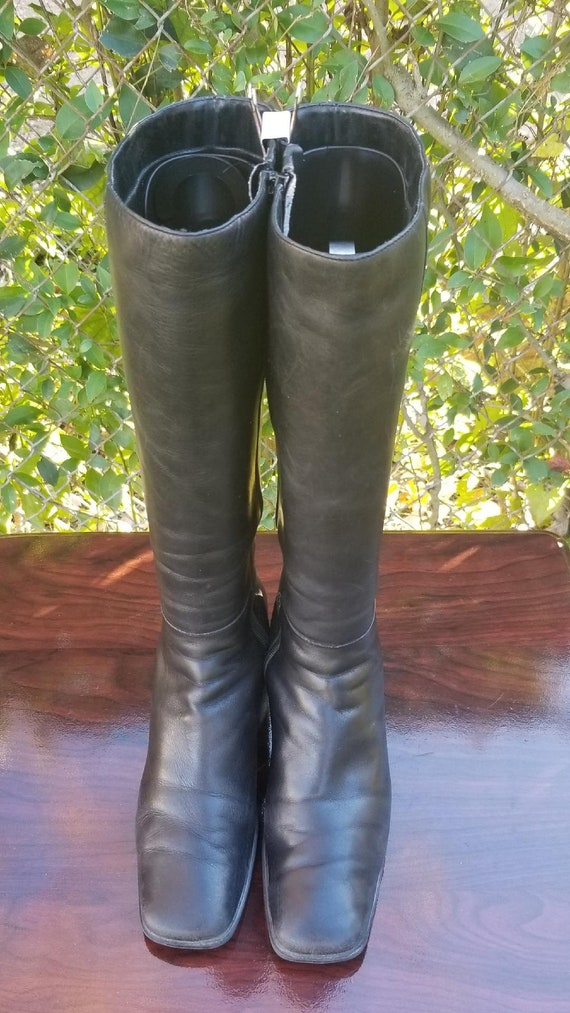 b679469eb54 S.z. 8M Tall Leather Riding Boots By Bandolino/Vintage 80's/Side Zipper  Boots/Stacked Heel