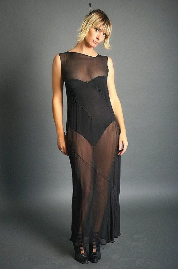 Sheer Vintage Black Bias Cut Silk Dress (S)