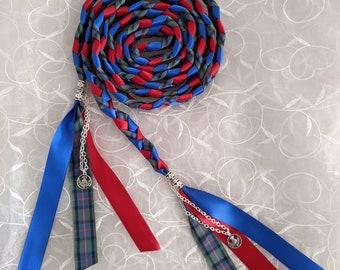 red and blue elegant handfasting cord braid for wedding ceremonies Flower of Scotland Tartan