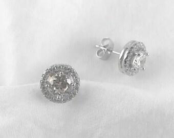 d00fd5466 Round Halo Cubic Zirconia Earrings