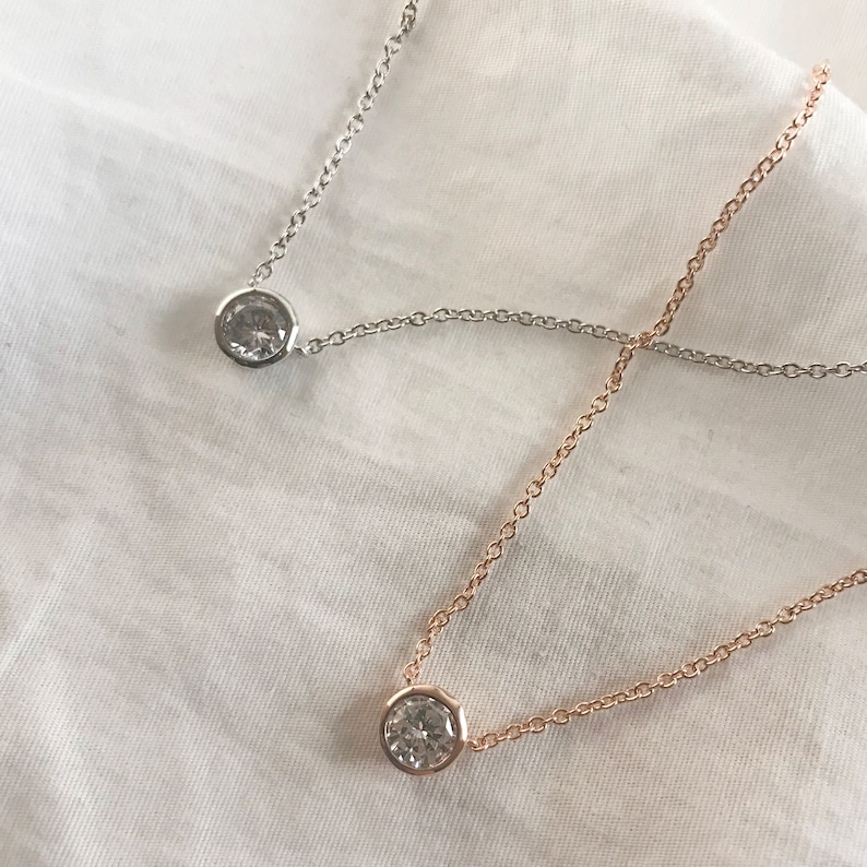 anniversary gift jewelry dainty rosegold necklace with cubic jewelry gift for mom silver necklace with small cubic