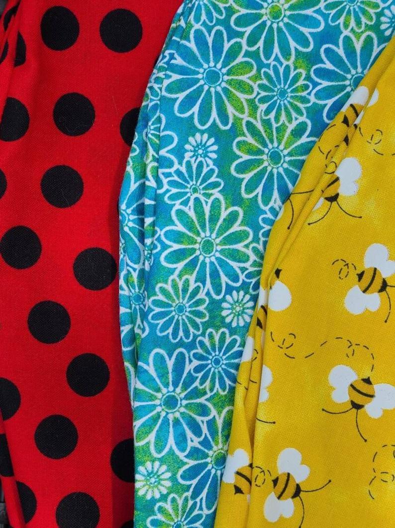 Springtime Pattern Surgical Scrub Cap Honey Bee Scrub Cap Floral Print Scrub Cap Summer Themed Scrub Caps Ladybug Tieback Scrub Hat PPE
