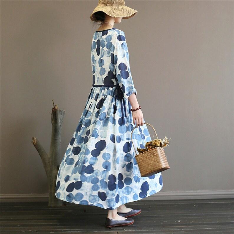 Blaue lässige Baumwolle Leinen Herbst China Stil lange ...
