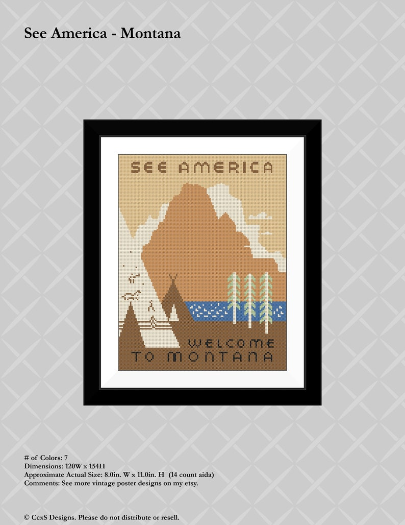 Vintage Poster Cross Stitch See America Montana WPA Pattern PDF Download
