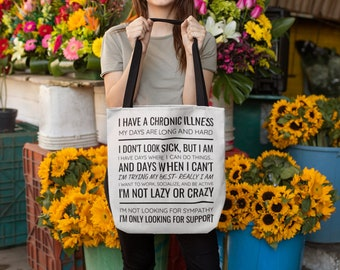 Chronic Illness Invisible Illness Warrior Awareness Black And White Tote Bag By Merchmade4you