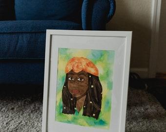 Black Queen Original Watercolor Painting