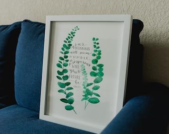 Simple Watercolor Eucalyptus and Bible Verse