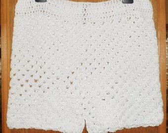 White Crochet Shorts Etsy