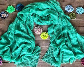 37afae35c9256 Hand dyed, emerald green scarf, Women's scarves, scarves for women, natural  cotton scarf, hemp scarf, lightweight scarf , summer scarf