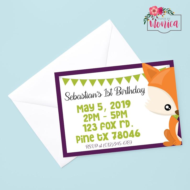 Printable Woodland Party Fox Birthday Invitation Fox Invitation Fox Party Invitation Little Fox Birthday Woodland Birthday