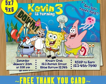 SpongeBob Invitation BirthdaySponge Bob Invite Squarepants Custom Personalised Free Thank You Cards