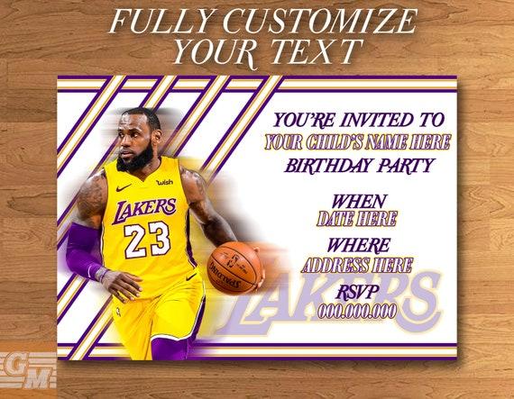 Lebron James Lakers Customized Digital Party Invitation Card