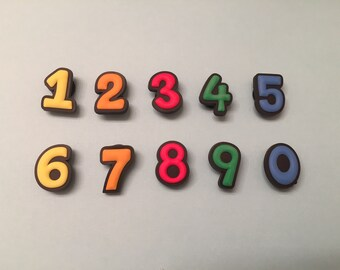 b142364c857bdc Numbers PVC Shoe Charms for your Crocs   Silicone Bracelet   Party Favors    Gifts for Kids