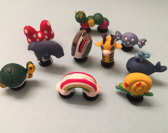 fc15ec0415 3D Shoe charms for you Crocs / Silicone Bracelet: Dolphin, Whale, Shark,  Snail, Turtle, Catterpillar, Giraffe, Rainbow, Red Bow