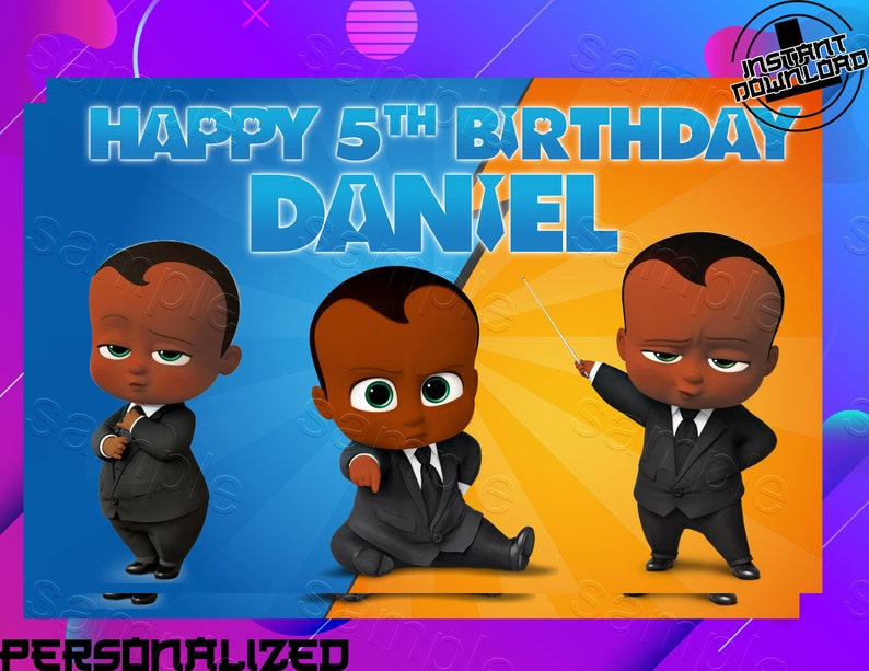 Boss Baby African American Backdrop Boss Baby Birthday Backdrop Boss Baby Birthday Banner Boss Baby Birthday Party Banner Digital File