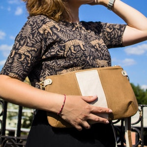 Shoulder bag Small Vegan Crossbody Purse with Zipper Sustainable clutch bag off vegan leather and cotton