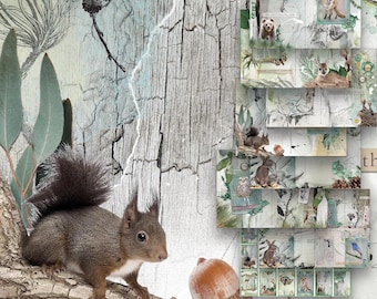 Woodland Journal Kit Printable, Forest Animals Diary Pages, Digital Collage Scrapbooking Sheets, A5 Wilderness Junk Journal, Commercial Use