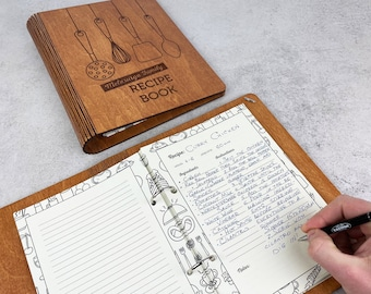 Custom Recipe Book Personalized Blank Wooden Binder