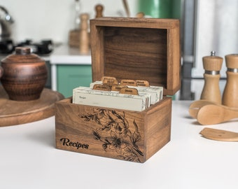 Wooden Recipe Box With Dividers And Recipe Cards 4x6 Personalized Gift For Mom From Daughter