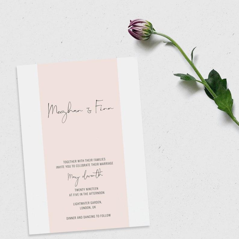 Printable Wedding Simple Invitation Printable Invitation Blush Wedding Invitation Editable Invitation Modern Wedding Invitation