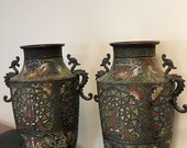 A pair of bronze cloisonne enamel vases - With spurious Ming Dynasty mark - China - 19th century Meiji Period)