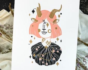 Linocut print Capricorn zodiac sign, creative gift for girls, 30x40 cm astrology art, horoscope block print wall decor in gold silver copper