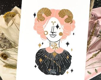 Linoprint Aries Zodiac Sign, Bday Gift, Girl Astrology, 30x40 Art Print, Celestial Stars, Present for Women Horoscope Art Gold Silver Copper