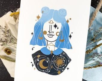 Linocut print Libra zodiac sign, creative gift for girls, 30x40 cm astrology art, horoscope block print wall decor in gold silver