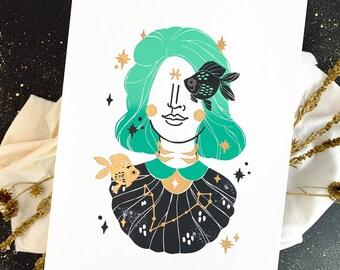 Lino Print Pisces Zodiac, Bday Gift, Girl Astrology, 30x40 Art Print, Celestial Star Sign Gift for Women, Horoscope Art Present Esoteric