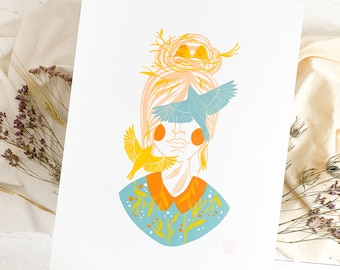 Linoprint bird woman robin summer, original linoleum 30x40 print, birdwatcher ornithology birds nature conservation, limited edition print