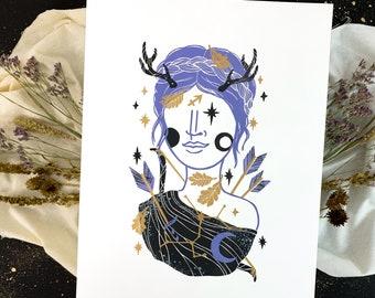 Linocut print Sagittarius zodiac sign, creative gift for girls, 30x40 cm astrology art, horoscope block print wall decor in gold silver