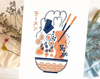 Linoprint Ramen, Japanese Noodle Soup, Sushi Bowl, Japanese Food, Original Linoleum Art, Asian Cuisine, Tokyo Kawaii, Tonkotsu Miso