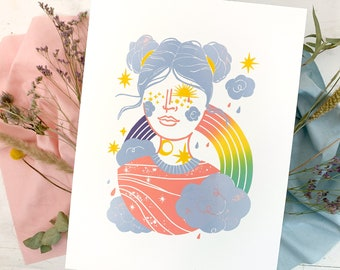 Lino print rainbow clouds sun, girls nursery lino original art, 30x40 art print lino colorful, sunshine baby kids wall decor pastel pink
